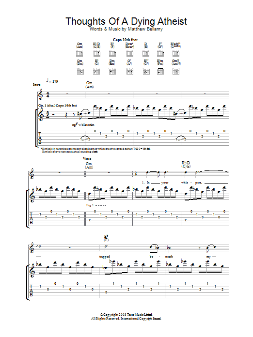 Thoughts Of A Dying Atheist Sheet Music