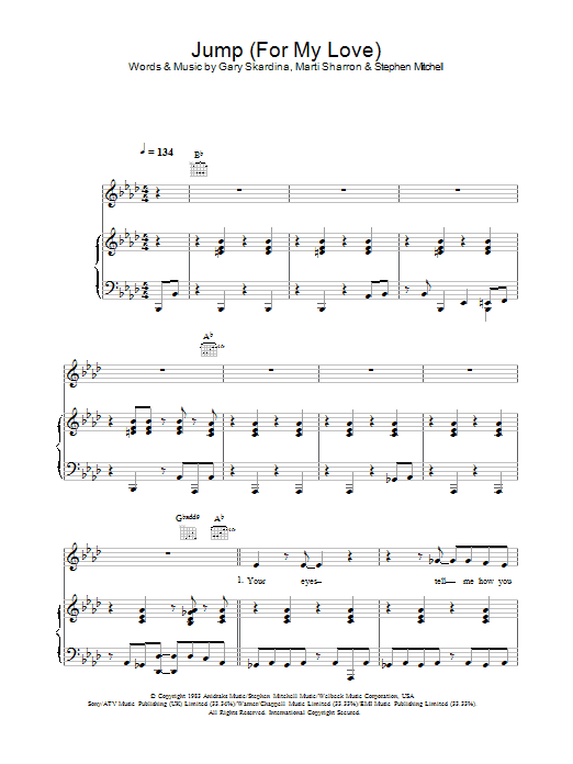 Jump (For My Love) (Piano, Vocal & Guitar)