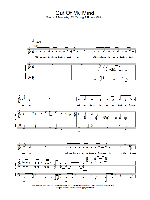 Out Of My Mind Sheet Music