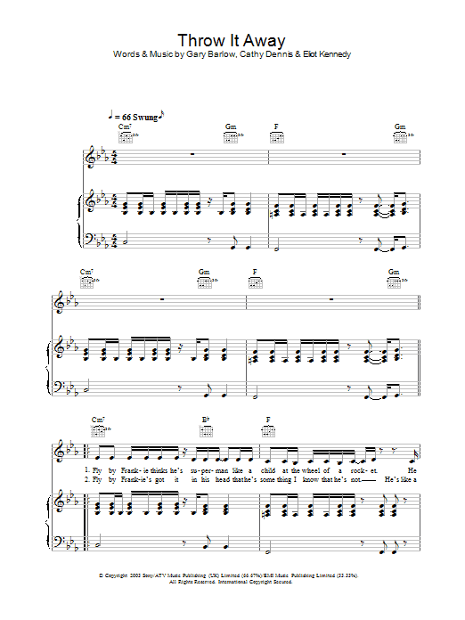 Throw It Away (Piano, Vocal & Guitar)