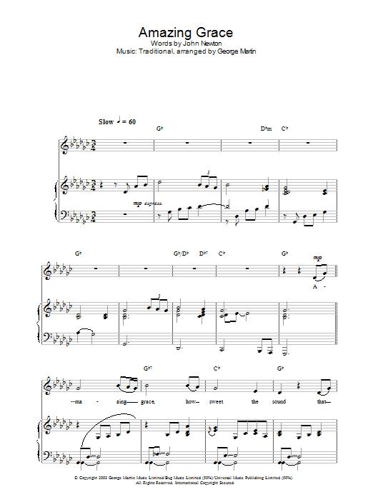Amazing Grace (Piano, Vocal & Guitar)