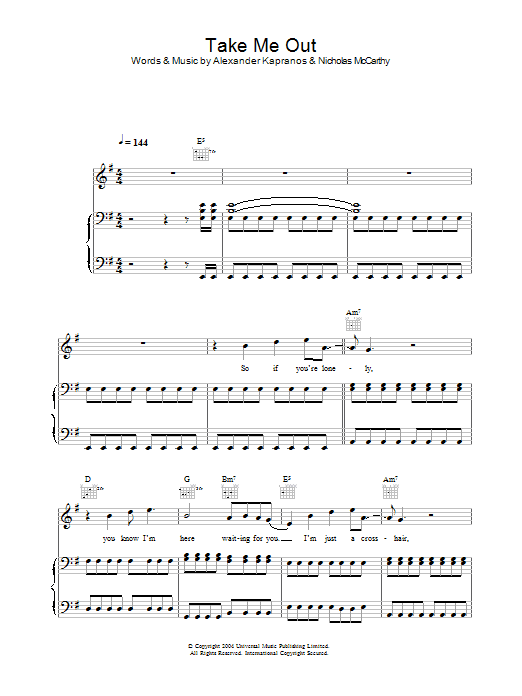 Take Me Out (Piano, Vocal & Guitar)