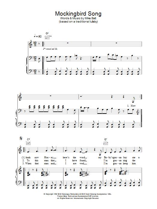 Mockingbird Song Sheet Music