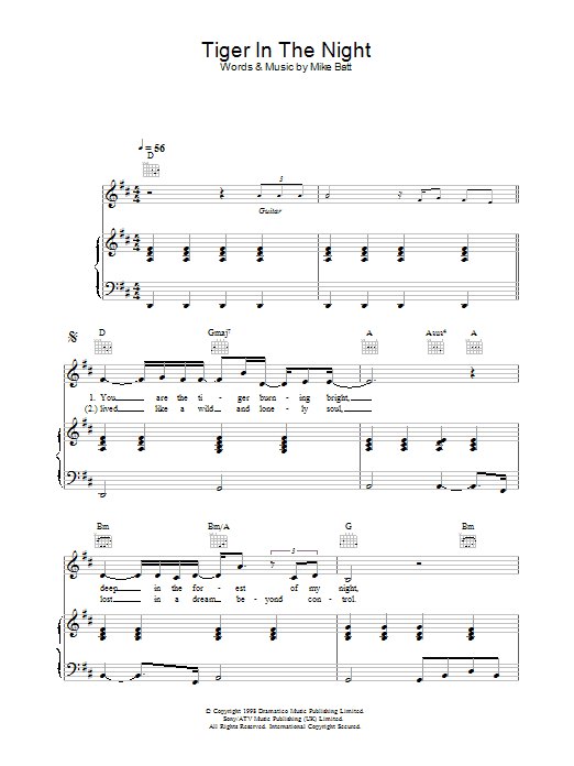 Tiger In The Night Sheet Music