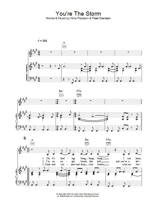 You're The Storm Sheet Music
