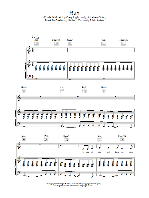 Run (Piano, Vocal & Guitar)
