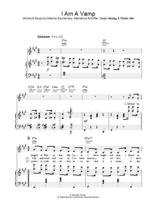 I Am A Vamp (Piano, Vocal & Guitar)