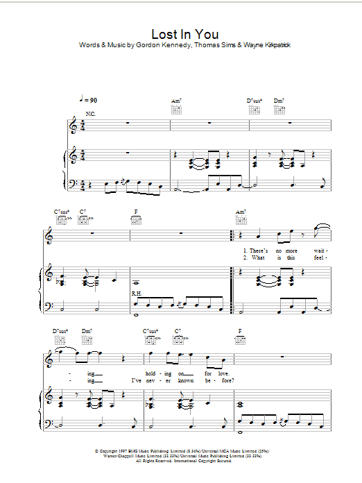 Lost In You Sheet Music