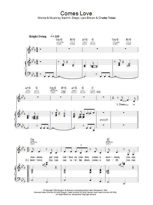 Comes Love (Piano, Vocal & Guitar)