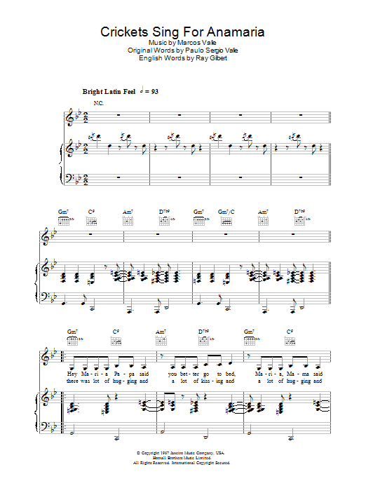 Crickets Sing For Anamaria Sheet Music