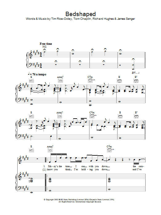 Bedshaped (Piano, Vocal & Guitar)