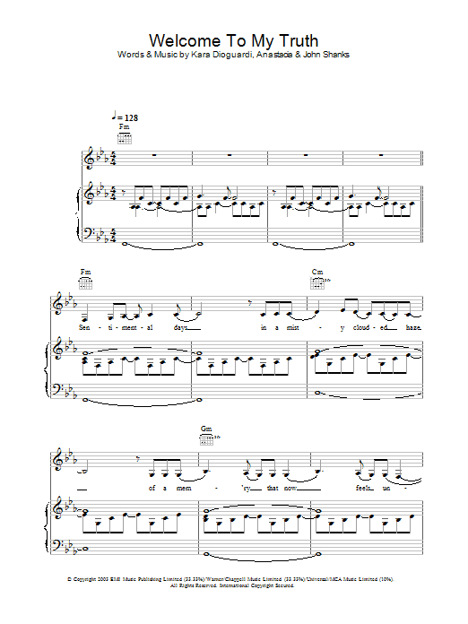 Welcome To My Truth Sheet Music