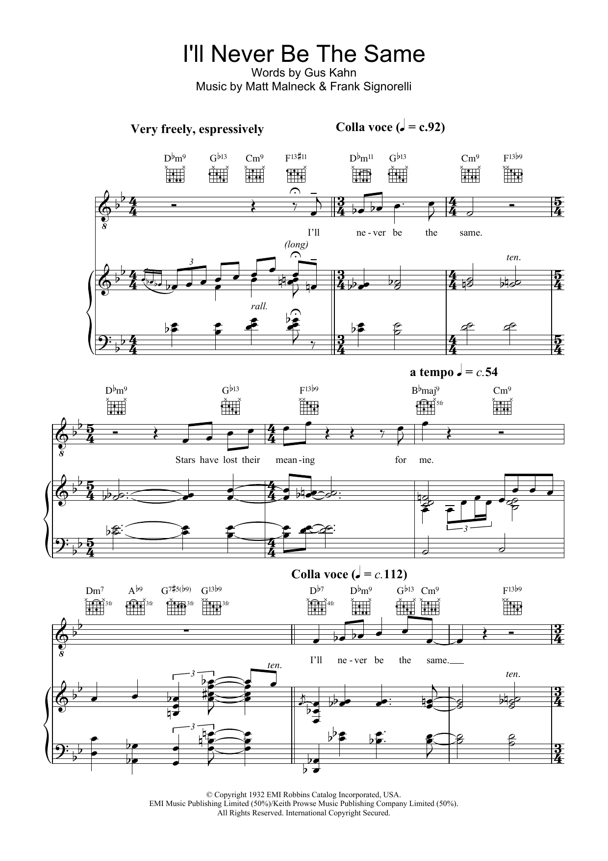 I'll Never Be The Same (Piano, Vocal & Guitar)