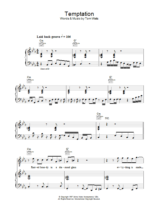 Temptation (Piano, Vocal & Guitar)