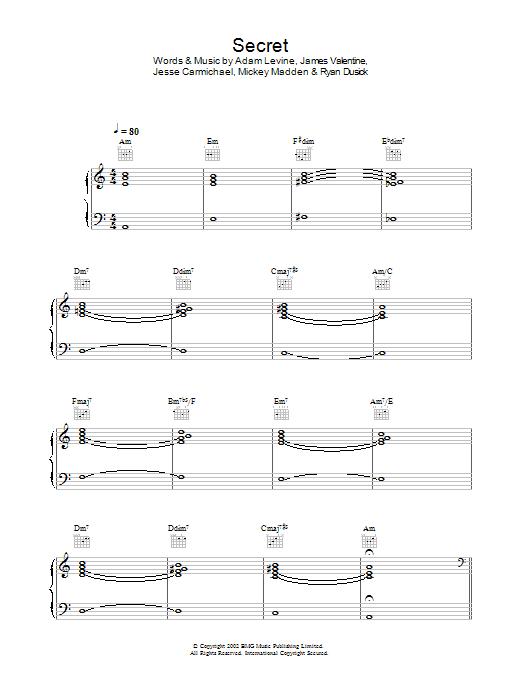 Secret (Piano, Vocal & Guitar)