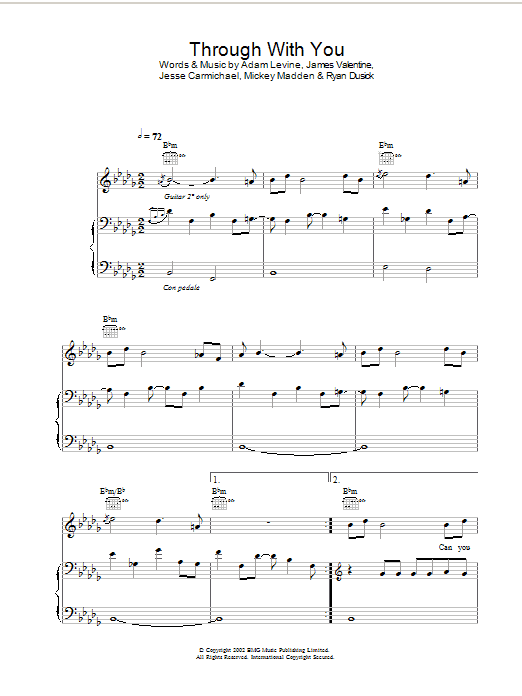 Through With You (Piano, Vocal & Guitar)