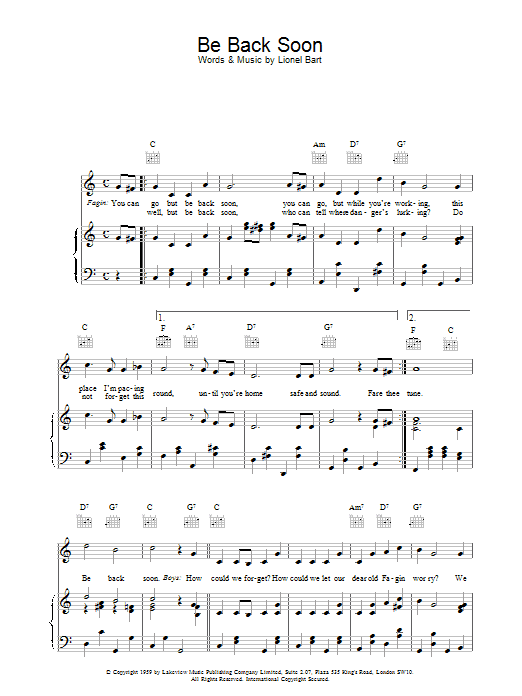 Be Back Soon (from Oliver!) Sheet Music