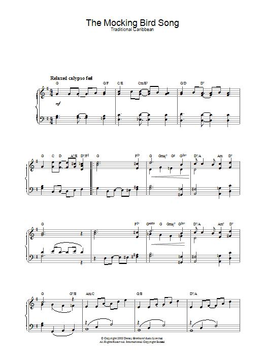 The Mocking Bird Song Sheet Music