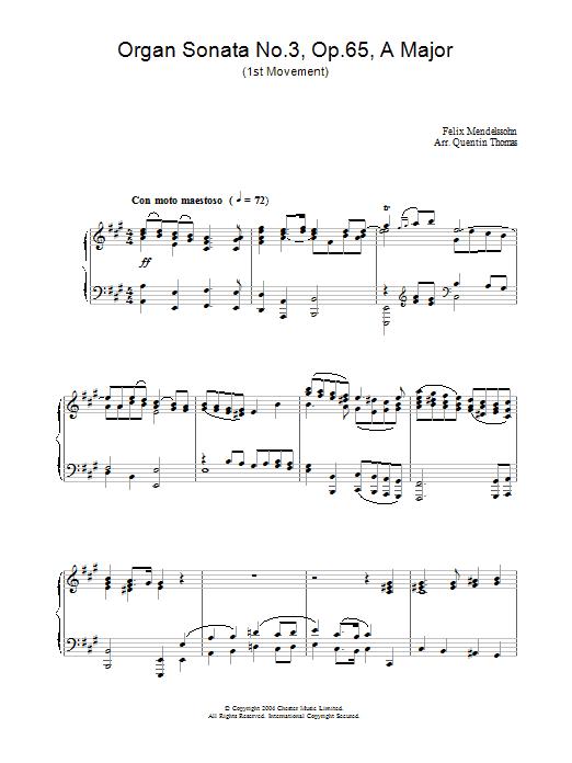 Organ Sonata No.3, Op.65, A Major (Piano Solo)