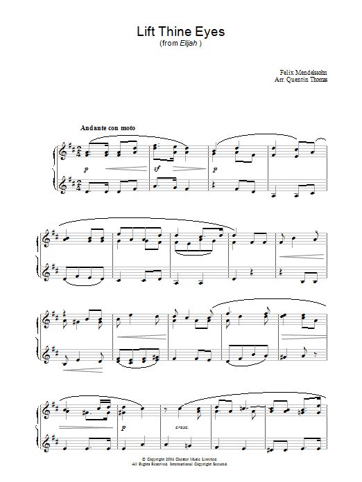 Lift Thine Eyes (from Elijah) Sheet Music