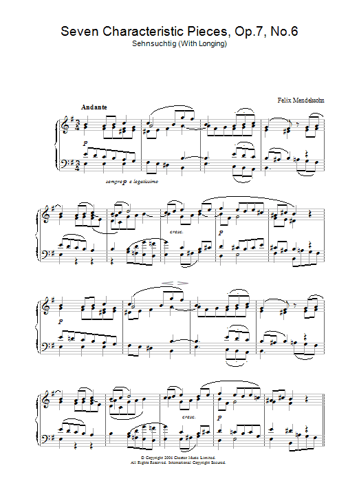 Seven Characteristic Pieces, Op.7, No.6 (Piano Solo)