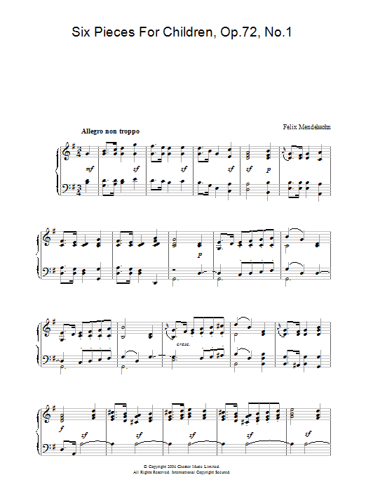Six Pieces For Children, Op.72, No.1 (Piano Solo)