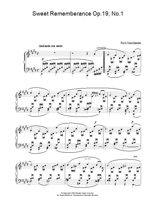 Sweet Rememberance Op.19, No.1 (Piano Solo)