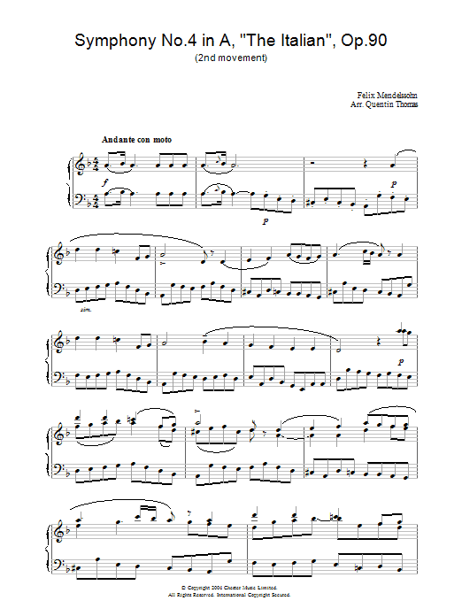 Symphony No.4 in A, 'The Italian', Op.90 (2nd Movement) (Piano Solo)