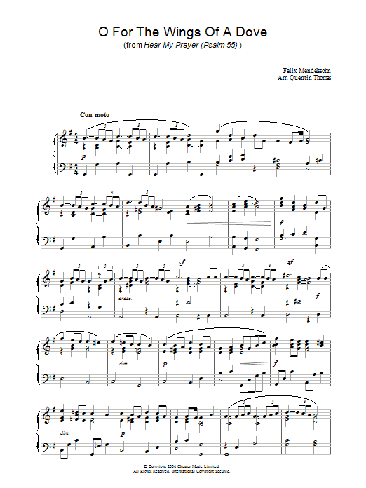 O For The Wings Of A Dove (Piano Solo)
