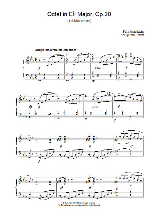 Octet in Eb Major, Op.20 (Piano Solo)