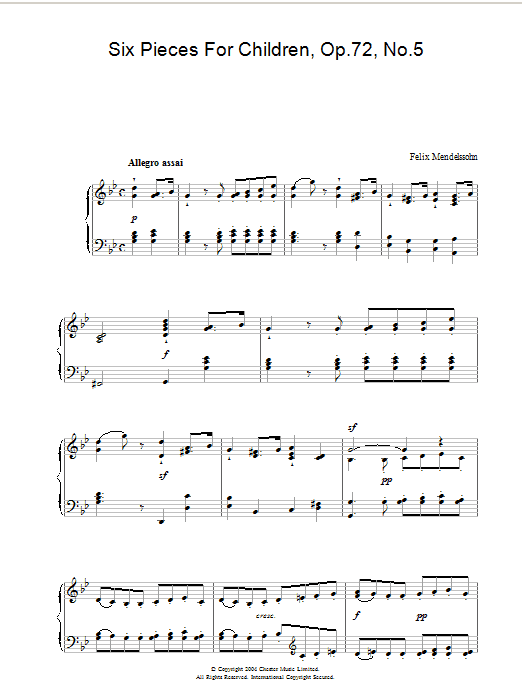 Six Pieces For Children, Op.72, No.5 (Piano Solo)