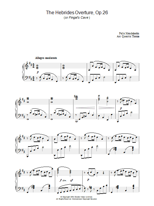 The Hebrides Overture, Op.26 (Piano Solo)