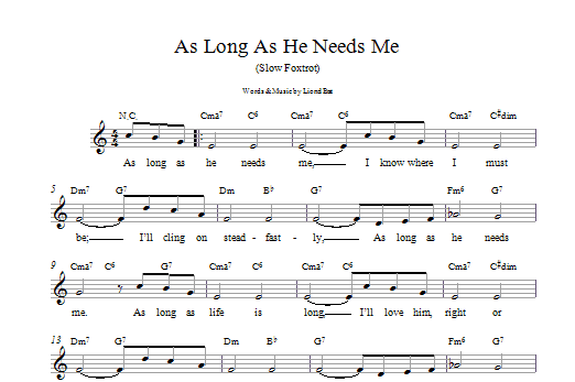 As Long As He Needs Me (from Oliver!) Sheet Music