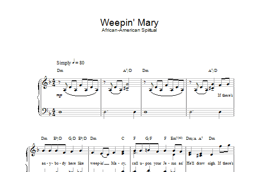Weepin' Mary Sheet Music