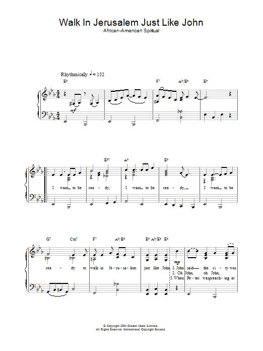 Walk In Jerusalem Just Like John (Easy Piano)
