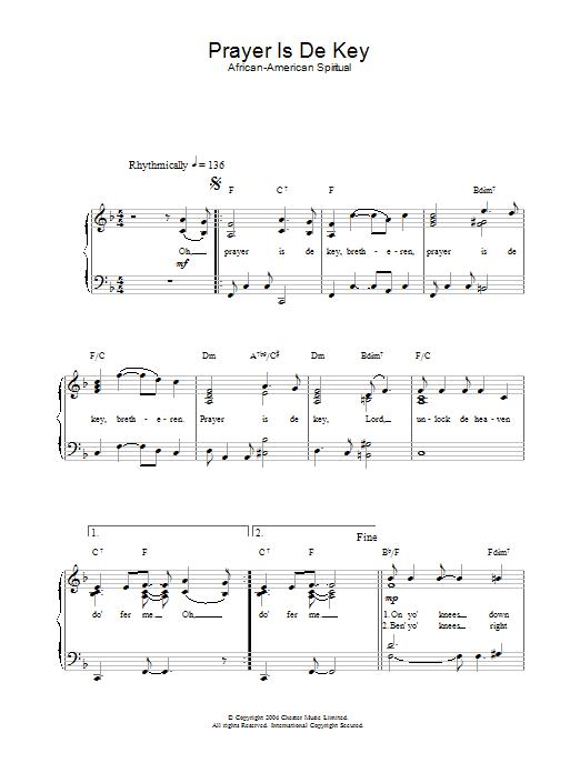 Prayer Is De Key (Easy Piano)