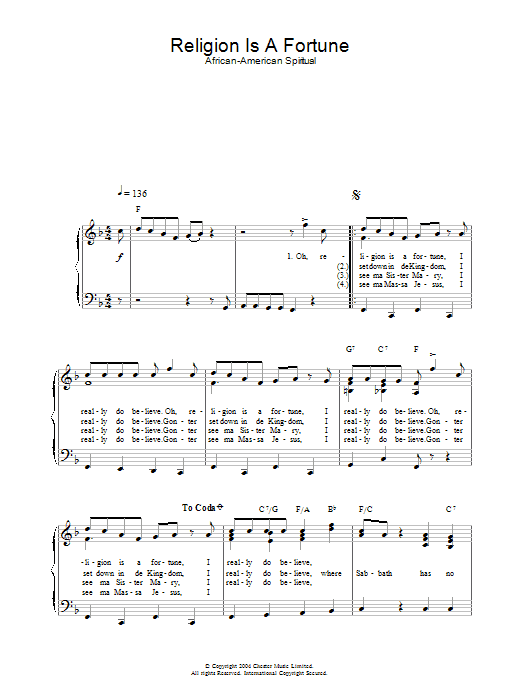 Religion Is A Fortune Sheet Music
