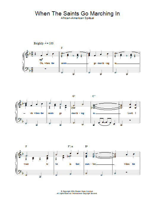 When The Saints Go Marching In | Sheet Music Direct