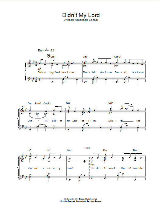 Didn't My Lord Deliver Daniel? Sheet Music