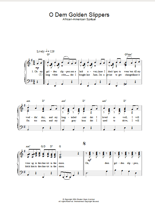 O Dem Golden Slippers (Easy Piano)