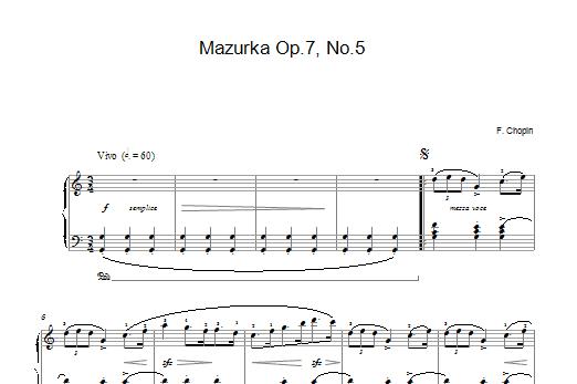 Mazurka Op 7 No 5 (Piano Solo)
