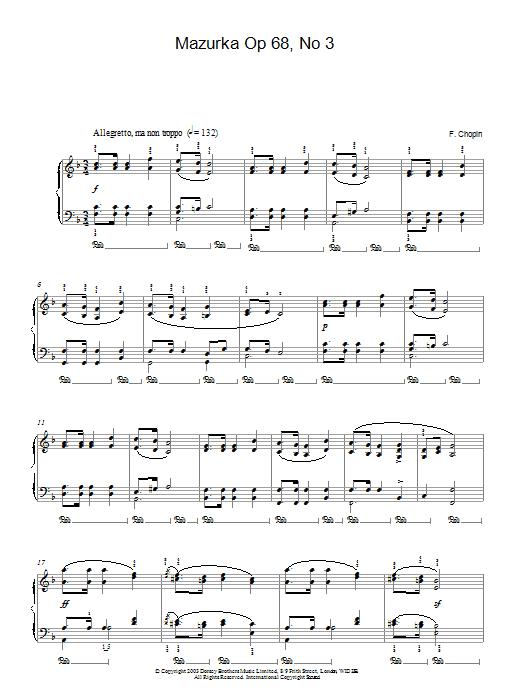 Mazurka Op. 68, No. 3 (Piano Solo)