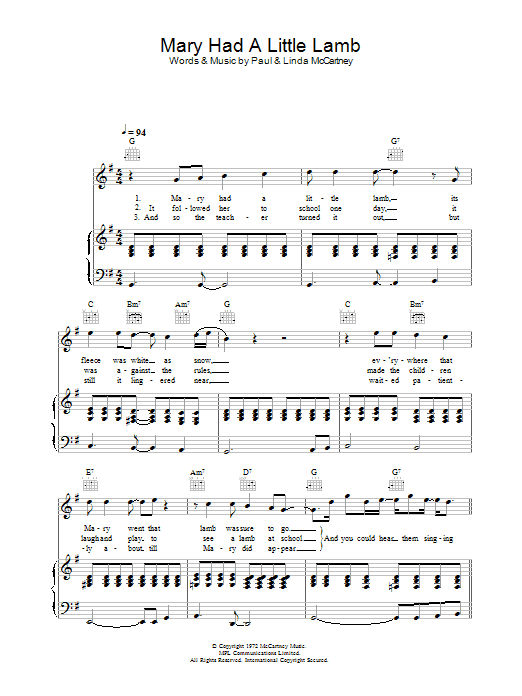 Mary Had A Little Lamb By Paul Mccartney Wings Piano Vocal Guitar Digital Sheet Music