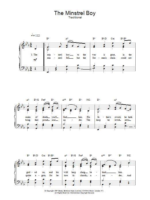 The Minstrel Boy Sheet Music