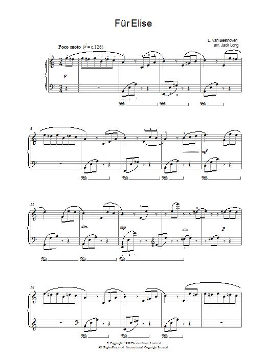 Fur Elise Sheet Music
