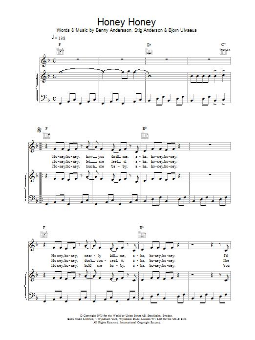 Honey, Honey (Piano, Vocal & Guitar)