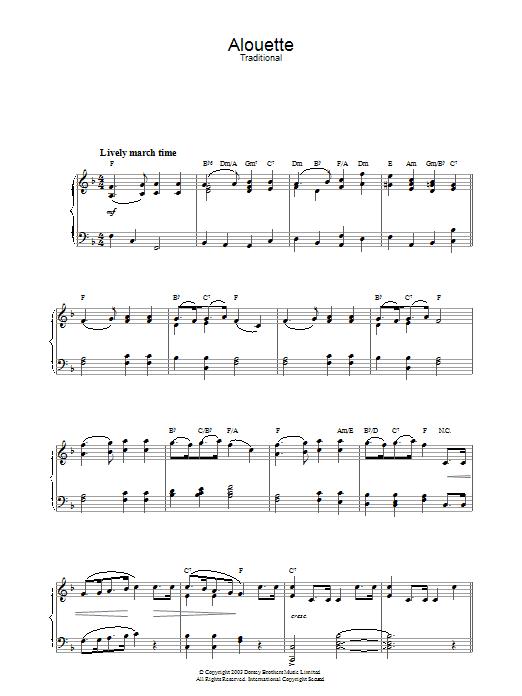 Alouette (Piano Solo)