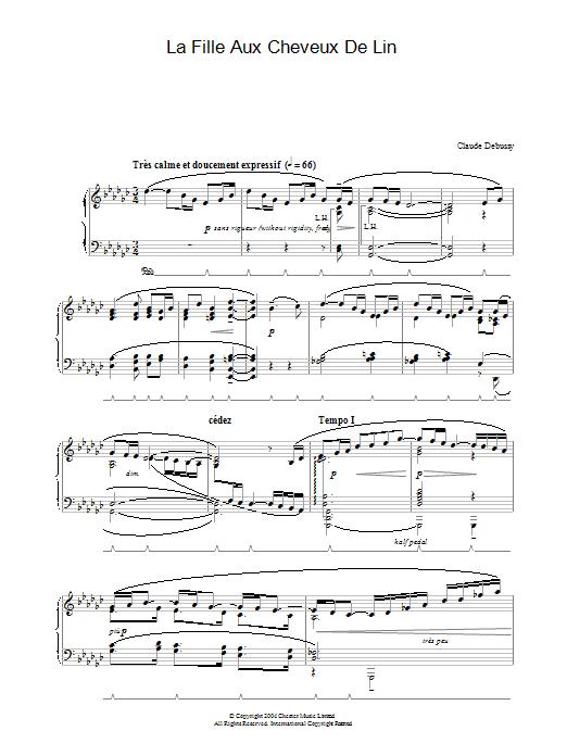 La Fille Aux Cheveux De Lin (Piano Solo)