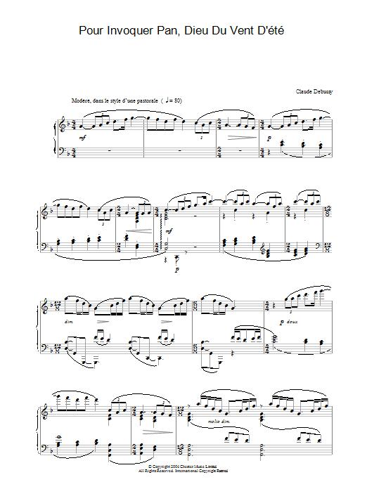 Pour Invoquer Pan, Dieu Du Vent D'été (Piano Solo)