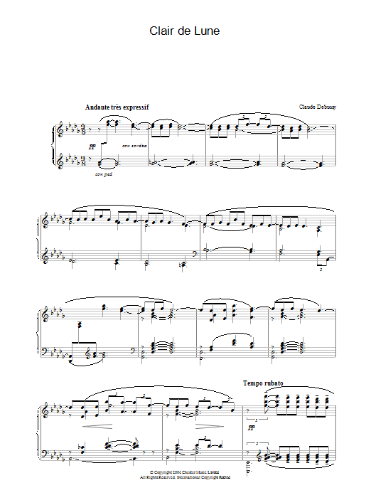 Clair De Lune From Suite Bergamasque Sheet Music Claude Debussy